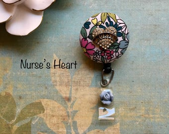 floral print Nurses Heart -Nurse Retractable ID Badge Reel/ RN Badge Holder/Doctor Badge Reel/Nurse Badge Holder/Student Nurse badge reel/ n