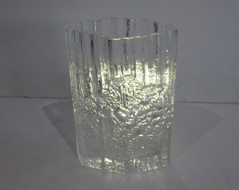 Mid-Century Modern Bark Glass Vase, By Tapio Wirkkala, Finland.