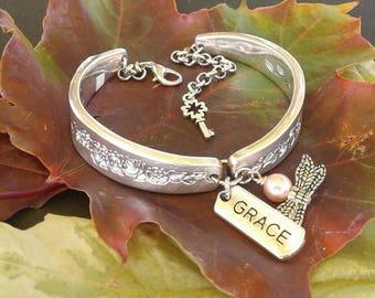 "Bracelet ""Laurel Mist"" Dragonfly wings w/ pink pearl"