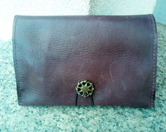 Pouch has purple brown tobacco, where purple brown leather Passport cover mixed vintage