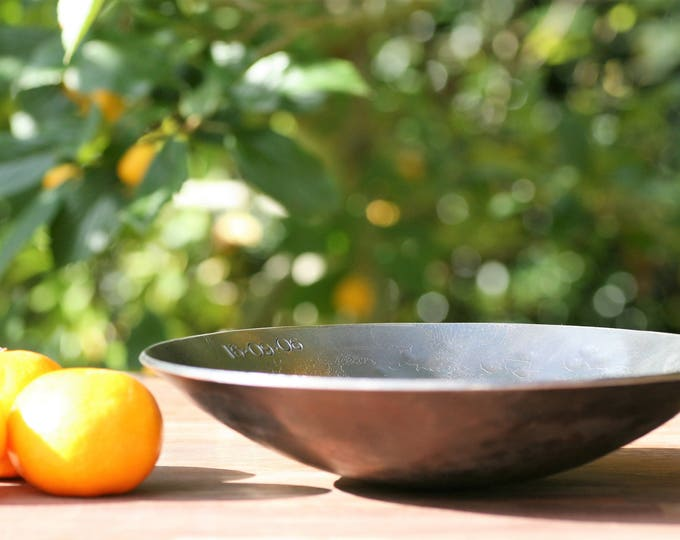 STEEL BOWL/11th Anniversary gift/metal bowl with hand stamped personalised message/Steel anniversary gift for wife/hand forged iron gift