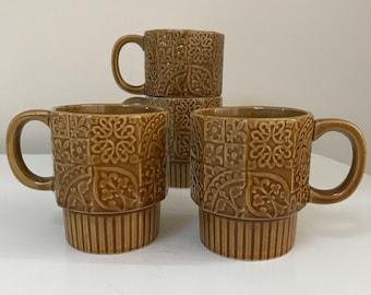 Vintage 1970s Floral Design Stackable Coffee Mugs Set of 4 Ceramic Mustard Brown