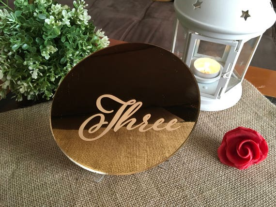 Engraved table numbers Script wedding etched number Wedding reception Gold mirror acrylic numbers Gold Circle Number Centerpiece Calligraphy