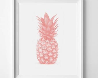 Pineapple Poster, Coral Pineapple, Tropical Wall Art, Pink Pineapple, Coral Decor, Peach Printable Art, Coral Decor, Pink Art, Kitchen Decor