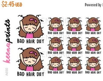 15% OFF A650 | BAD Hair Day stickers - Keenachi stickers, emoji stickers, hair stickers, sad stickers, not in the mood stickers, planner sti