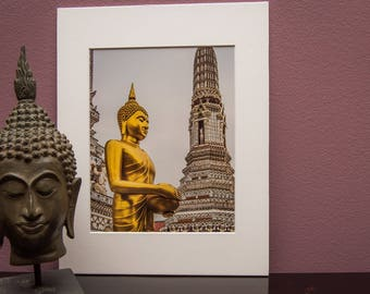 Matted Art Print-Thailand-Bangkok-Gold-Temple-Wat Arun-Buddha-Buddhist-Religion-Home Office Decor- White Matt-Travel-Asia-Gift-Photo-Art