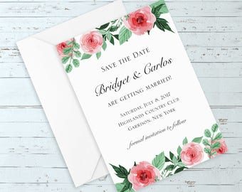 Instant Download - Editable Watercolor Roses Save the Date (Elegant, Romantic, Rustic, Chic, Custom Wedding Save the Date w/ Pink Roses)