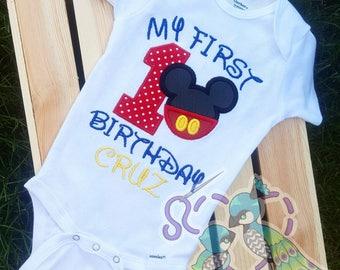 mickey/Minnie mouse 1st birthday shirt or bodysuit
