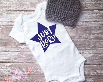 Just Born Coming Home Bodysuit Baby Boy Onesie Hospital Outfit