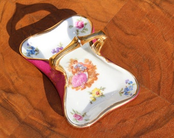Limoges France Trinket Dish in Basket Shape with Courting Couple, signed Fragonard