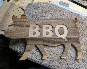 Rustic BBQ Wood Pig Wall hanging Sign, Pig, BBQ Wood Pig
