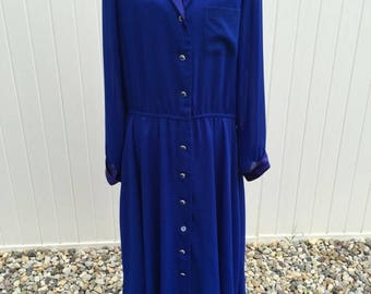 50off Vintage Morton Myles blue satin polyester dress with sapphire rhinestone buttons