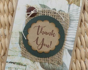 Rustic Thank You Card, Homemade Thank You, Kraft Thank You Card, Kraft Thank You, Gratitude, Appreciation, Thank You Note Card