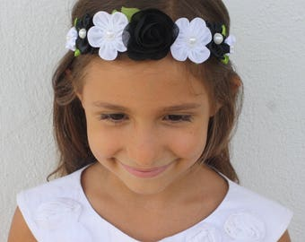 white and black flower plastic headband, multiple flower girl headband, satin- felt flowers headband, girl hair flower, multiple white black