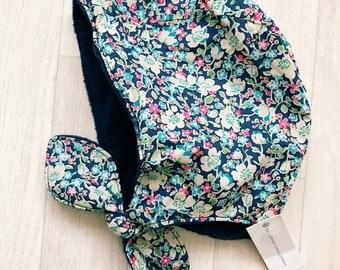 READY to SHIP BELLE Handmade Fleece Lined Winter Baby Bonnet Liberty of London Tana Lawn Winter Hat John