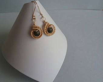 Wire wrapped black spinel drop earrings