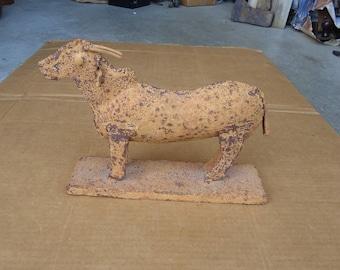 vintage cow sculpture metal folk art,reclaimed metal sculpture,hump cow bull cattle figurine decor