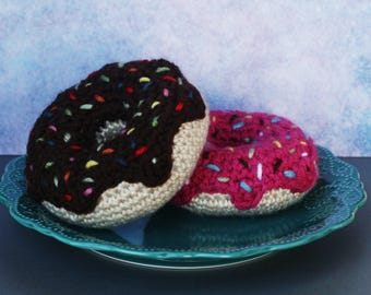 Chocolate and Strawberry Donuts - Crochet / Knit / Stuffed - Fake Food - Decor or Toy