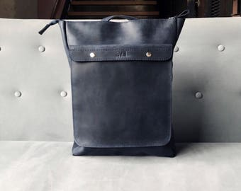 HandMade Dark BLUE LEATHER BACKPACK  / Handcrafted leather Rucksack with one front pocket on snap bottoms / Dark Blue leather bag