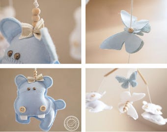 Baby Boy Mobile, Baby Boy Nursery, Baby Blue Mobile, Hippo Mobile, Baby Crib Mobile Boy,Personalized Baby Boy Gift/EXPEDITED FEDEX DELIVERY