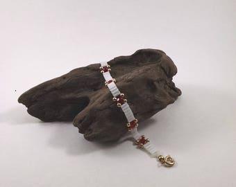 Beaded White and Red Tennis Bracelet, Bridal Bracelet, Wedding Jewelry