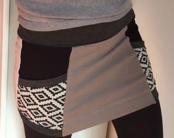 Winter skirt Aztec sweater stretch fleece