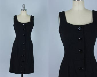 Vintage 1950s Dress | Charcoal Grey Wool Sheath Dress | Small