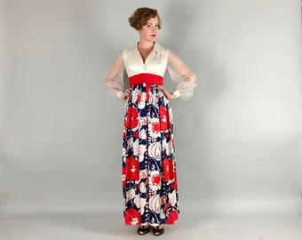 Vintage 1960s Dress   60s Red White and Blue Flower Power Maxi Gown with Sheer Puff Sleeves   Small