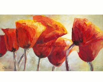 Oil Painting, Painting Canvas, Red Wall Art, Office art, Large Canvas Art of Poppy Painting, Red Poppy Livingroom & Office Decor, Original