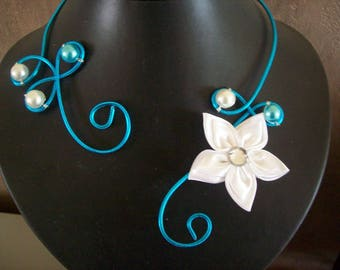 Bridal necklace wedding party holiday aluminum wire turquoise bridesmaid white ceremony satin flower