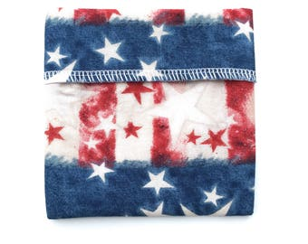 "One 4.5"" Pad Wrapper-PUL Lining-Spray Painted Stars and Stripes Print"