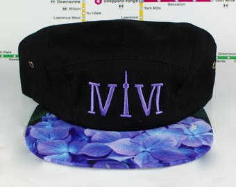 """Blueish/Purple Floral 5 Panel! 416 5 Panels! The Roman Numerals Stand For """"416"""", Toronto's Area code, With The """"1"""" Resembling The CN Tower."""