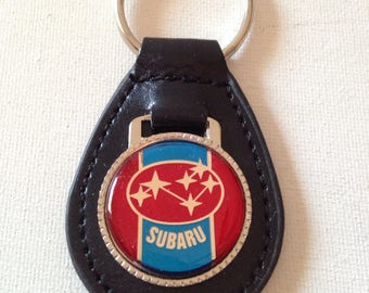 Subaru Keychain Black Leather Key Chain