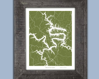 Lake of the Ozarks Map, Custom Lake of the Ozarks  map, Cabin Decor