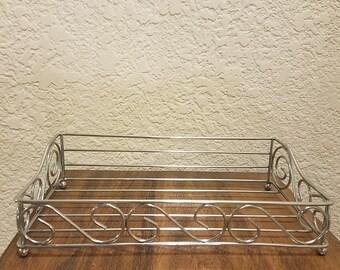Vintage Table Top Square Curled Wire Metal Napkin Holder / Napkin Stacker/ Napkin Storage / Kitchen Decor / Table Decor / Napkin Tray