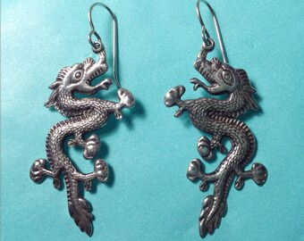 Intricate artisan made solid sterling silver dragon earrings good luck