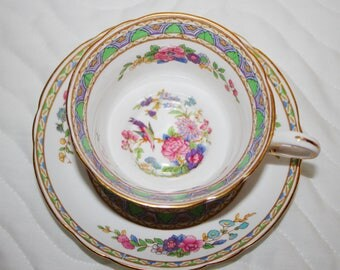 "Very Rare Jackson & Gosling c1919-1924 Ye Olde English Teacup and Saucer called ""Florian"" Flowers, Birds"