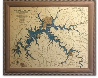 Dale Hollow Lake Dimensional Wood Carved Depth Contour Map - Customize With Your Home Information