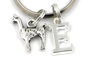 Llama Key Ring, Personalized Llama Keychain, Lama Keyring, Initial Keychain, Animal Charm, Lama Gifts, Lama Jewellery, Christmas Gifts