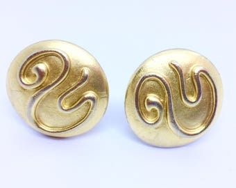Vintage 80's Large Modernist Matte Gold Clip On Earrings,Gold Tone Domed Earrings with Swirls,Statement Earrings,Textured Button Earrings