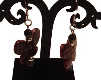 Brown and black butterfly earrings