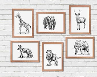 Wild Animals Prints, Set of 6 Printables, Woodland Animals, Printable Wall Art, Transfer Images, Deer Print, Craft Supplies, Nature Prints