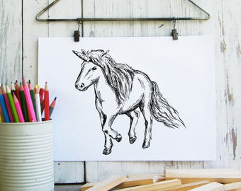 Unicorn Poster, Unicorn Gift, Unicorn Print, Kids Room Decor, Magical Unicorn, Digital File, Gift For Kids, Instant Download, Nursery Art