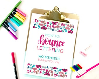 Bounce Lettering Worksheets, Summer Edition, Lettering Worksheets, Brush Pen Worksheets, Instant Download