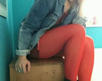 Mary Quant Vintage Tights Red Small Circa 1980's