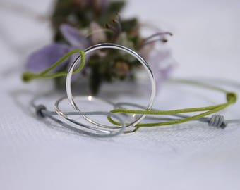 Genuine Green cord and silver bracelet