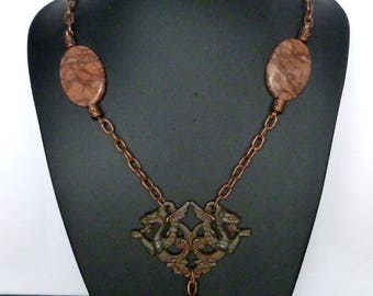 "Necklace antique-inspired ""BYBLOS"" ethnic Style, copper metal, natural stones, Jasper."