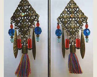 "Pierced ear Bohemian ""MADRAS"" bronze metal filigree, Crystal, tassel, Czech glass and Crystal beads, bronze charms"