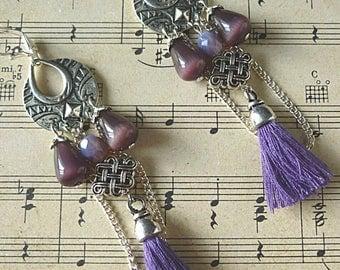 """Bohemian earrings """"Andante"""", silver, purple cat's eye, purple tassel and chain."""