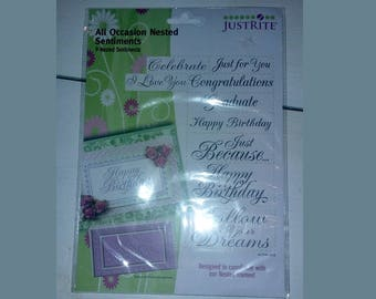 Just Rite All Occasion Nested Sentiments - 9 Nested Sentiments Stamps - Designed to Cooridinate with Our Nested Frames